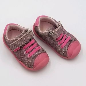 Pediped Pink Sparkle Velcro Grip N Grow Sneaker 5T